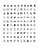 Inzameling 100 vectorpictogrammen Stock Foto