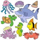 Inzameling 2 van zeevissen en van dieren Stock Foto