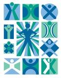 Inzameling 5 van de Emblemen van mensen Stock Fotografie