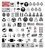 Inzameling 6 van tekens - de symbolen van de Verpakking en het verschepen Royalty-vrije Stock Foto's