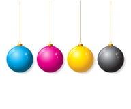 Inzameling CMYK van Kerstmisballen royalty-vrije illustratie