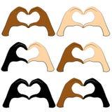 inzameling De menselijke handen zijn gevouwen in de vorm van een hart Mensen van verschillende nationaliteiten De Dag van Valenti royalty-vrije illustratie