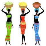 inzameling Een slanke dame Afrikaans-Amerikaan Het meisje draagt een mand op haar hoofd met druiven, bananen, potten De vrouwen z vector illustratie