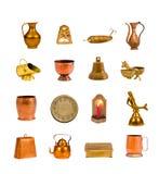 Inzameling geassorteerde antieke geïsoleerde voorwerpen en hulpmiddelen Royalty-vrije Stock Foto's