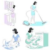 inzameling Het meisje verwijdert stof in de ruimte met een stofzuiger, wist, wast schotels, glas Een vrouw is een goede vrouw en  stock illustratie