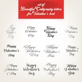 Inzameling, Kalligrafische brieven voor de Dagtekst van Valentine ` s Royalty-vrije Stock Afbeelding