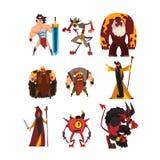 Inzameling met de verschillende karakters van het fantasiespel Beeldverhaaltovenaar, strijder, Viking, reus, demon, cyclope, tove vector illustratie