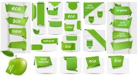 Inzameling met markeringen Eco en etiketten en stickers Stock Afbeeldingen
