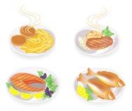 inzameling Op een plaat van gebraden koteletten, lapje vlees, vissen, vlees Versier aardappels, paddestoelen, citroen, greens, pe vector illustratie