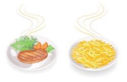 inzameling Op een plaat van heet gebraden vleeslapje vlees Versier gebraden aardappels, tomaat, basilicumgreens, peterselie, dill vector illustratie