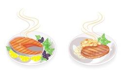 inzameling Op een plaat van lapje vlees geroosterde vlees en vissen Versier paddestoelen, uien, citroen, dillegreens, peterselie, royalty-vrije illustratie