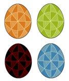 inzameling Paasei met geschilderd ornament, 48 wiggen Het symbool van Pasen Een oude traditie van mensen Vector illustratie stock illustratie