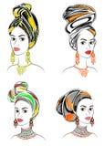 inzameling Silhouet van een hoofd van een zoete dame Een heldere sjaal, een tulband, bond aan het hoofd van een Afrikaans-Amerika stock illustratie