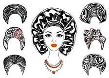 inzameling Silhouet van een hoofd van een zoete dame Een heldere sjaal, een tulband, bond aan het hoofd van een Afrikaans-Amerika vector illustratie