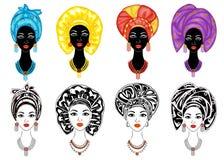 inzameling Silhouet van een hoofd van een zoete dame Een heldere sjaal, een tulband, bond aan het hoofd van een Afrikaans-Amerika royalty-vrije illustratie