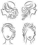 inzameling Silhouetprofiel van een leuk dames hoofd Het meisje toont haar kapsel voor middelgroot en lang haar Geschikt voor embl royalty-vrije illustratie