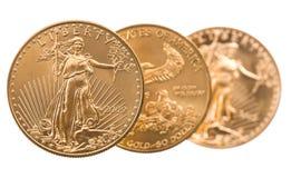 Inzameling van één ons gouden muntstukken Stock Foto
