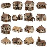 Inzameling van 16 middeleeuwse huizen Royalty-vrije Stock Afbeelding