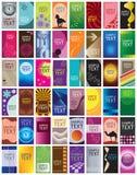 Inzameling van 48 verticale adreskaartjemalplaatjes Royalty-vrije Stock Foto