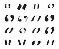 Inzameling van aanhalingstekens, toespraaktekens, de pictogrammen van het citaatteken Zwarte die citaatsymbolen op een witte acht Stock Foto
