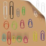 Inzameling van aantrekkelijke paperclippen (klaar te gebruiken) Stock Foto