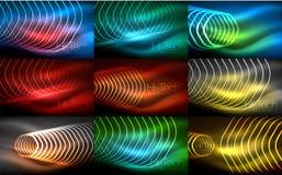 Inzameling van abstracte achtergronden, gloeiend overzicht die zeshoeken herhalen vector illustratie