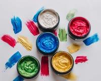 Inzameling van abstracte acrylborstelslagen Stock Foto's