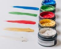 Inzameling van abstracte acrylborstelslagen Stock Foto