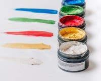 Inzameling van abstracte acrylborstelslagen Stock Afbeelding