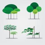 Inzameling van abstracte bomen Stock Afbeeldingen