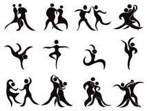 Inzameling van abstracte dansers Stock Foto's