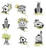 Inzameling van abstracte gebouwen royalty-vrije illustratie