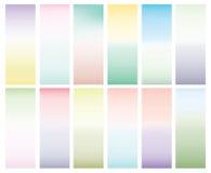 Inzameling van 12 abstracte heldere gradiënten Tedere kleuren, vlotte achtergrond voor ontwerp Blauw, groen, geel, roze Stock Foto's