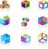 Inzameling van abstracte kubuspictogrammen/emblemen Stock Afbeelding
