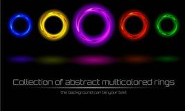 Inzameling van abstracte multicolored, kleurrijke ring Stock Afbeeldingen