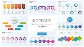 Inzameling van acht vectormalplaatjes voor infographics met 6 opties, stappen, processen Stock Foto's