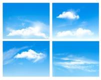 Inzameling van achtergronden met blauwe hemel en wolken vector illustratie