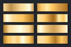 Inzameling van achtergronden met een metaalgradiënt Briljante platen met gouden effect Vector illustratie royalty-vrije illustratie