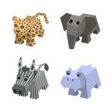 Inzameling van Afrikaanse isometrische dieren in vector Stock Afbeeldingen