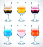 Inzameling van alcohol coctails pictogram Royalty-vrije Stock Foto's