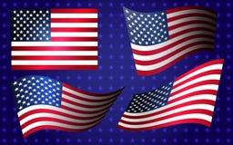 Inzameling van Amerikaanse vlaggen die zich in de wind in vector bewegen Stock Foto's