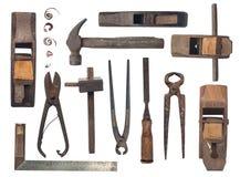 Inzameling van antieke houtbewerkingshulpmiddelen op witte doek Royalty-vrije Stock Afbeeldingen