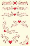 Inzameling van antieke ontwerpelementen met hart. Royalty-vrije Stock Fotografie