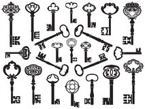 Inzameling van antieke sleutels Stock Foto