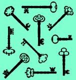 Inzameling van antieke uitstekende sleutels Stock Afbeelding