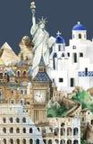 Inzameling van architecturale die oriëntatiepunten door waterverf worden geschilderd vector illustratie