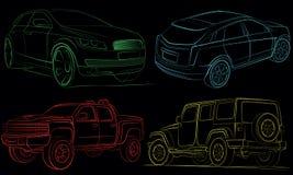 Inzameling van auto's met vectorwegen. Royalty-vrije Stock Fotografie