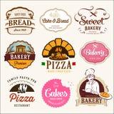 Inzameling van BAKKERIJ, CAKES en PIZZA Stock Fotografie