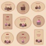 Inzameling van bakkerijkentekens, etiketten en pictogrammen Stock Foto