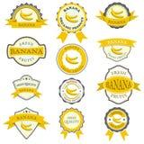 Inzameling van banaanetiketten Royalty-vrije Stock Afbeeldingen
